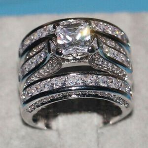 New Luxury 925 Sterling Silver Wedding Set Rings